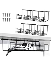 2 Packs Cable Management Tray, 40cm Under Desk Cord Organizer for Wire Management, Metal Wire Cable Holder for Desks, Offices, and Kitchens (Black)