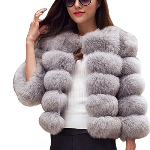 LaoZan Gilet Vest Manteau Coat Court avec Manches Longues en Fausse Fourrure pour Femme Gris