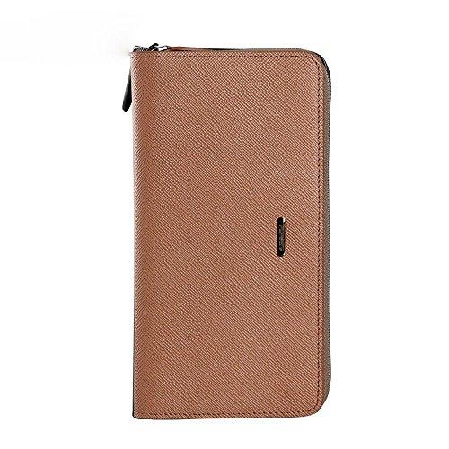 brown functional Men's a long multi handbag zipper with LIGYM purse Rw6zzxn