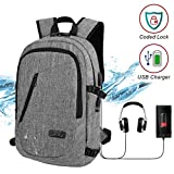 Travel Laptop Backpack Business Laptop Back pack Slim College School Bag with USB Charging Port Headphone interface Water resistant Anti Theft Computer Bag for Women and Men Fits up to 15.6 Inch Laptop