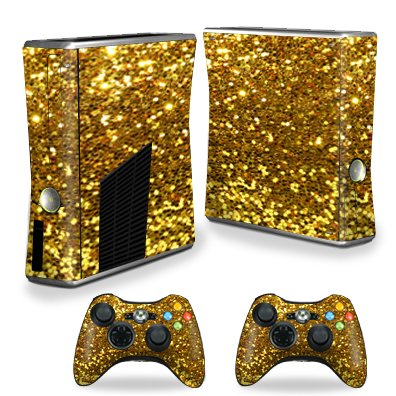 MightySkins Protective Vinyl Skin Decal for Xbox 360 S Slim + 2 controllers Case wrap cover sticker skins Gold Glitter