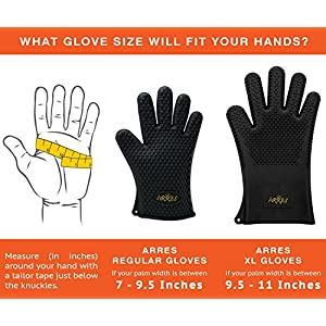 Arres XL BBQ Grilling Gloves - Heat Resistant Silicone Extra Large Cooking Gloves - Best Accessories for Barbecue, Grill, Smoker, Kitchen Oven & more