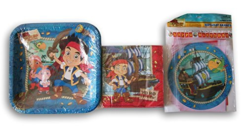 Jake and the Neverland Pirates Themed Party Supply Kit - Plates, Napkins, and Banner -