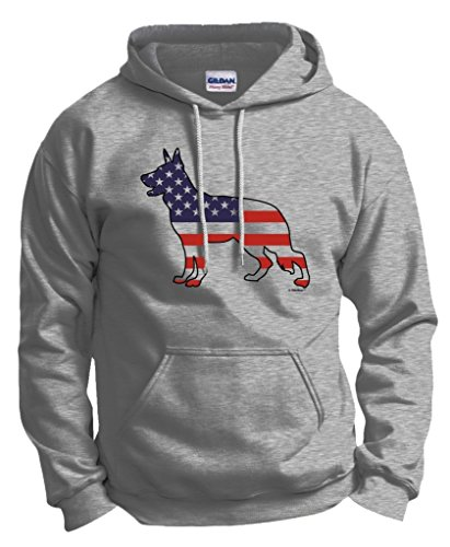 Patriotic Dog Gift German Shepherd American Flag Hoodie Sweatshirt Medium Ash