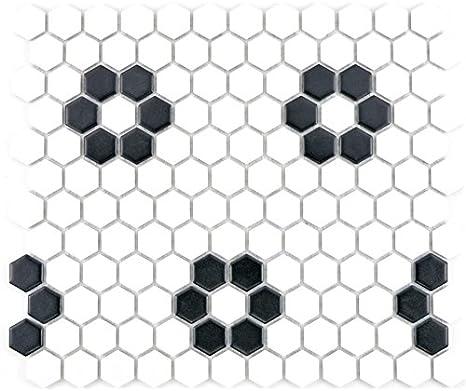 Mosaik Fliese Keramik Hexagon wei/ß matt K/üche Fliese WC Badfliese MOS11F-0111