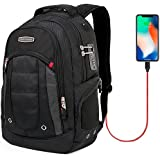 CrossGear Backpack with USB Charging Port Laptop bag and Combination Lock- Fits Most 15.6 Inch Laptops and Tablets CR-9003BK-USB