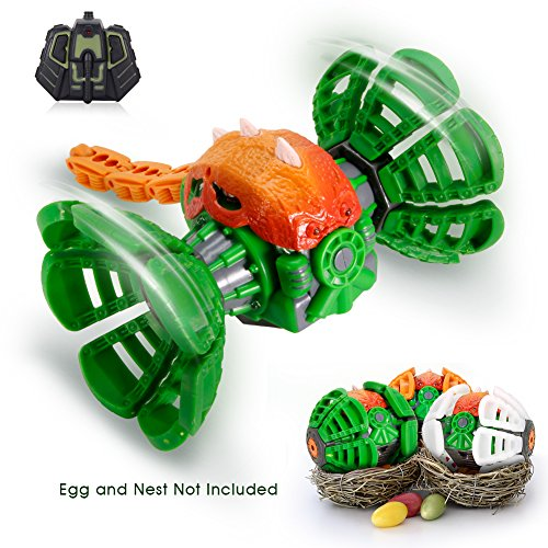 Remote Control Dinosaur Toy, Transformable Easter Dino egg, MakeTheOne Super Durable Mini Monster Truck Car Rechargeable Rugged RC Vehicles, 360 Degree Rotating W' Electronic Music LED Lights for Kids