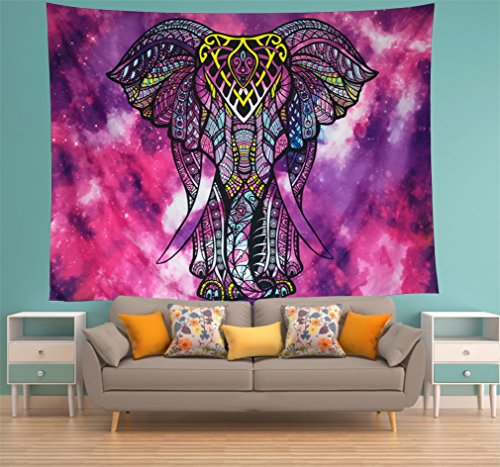 Watercolor Elephant Tapestry Purple Psychedelic Wall Tapestry Wall Hanging Decor Hippie Mandala Bohemian Tapestry Flower Indian Tapestry for Bedroom Living Room Dorms Decor