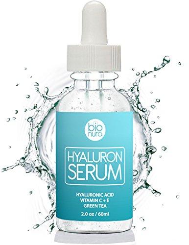 Das beste Hyaluronsäure Serum für Ihr Gesicht mit Vitamin C + Grüner Tee + Vitamin E. Natürliche Anti-Aging + Anti Falten + Bio Kollagen Booster Gesichtsserum mit organischen Inhaltsstoffen für alle Hauttypen 60 ml (2 oz)