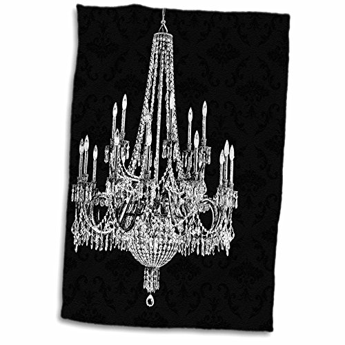 3dRose PS Chandeliers - White Chandelier with Black Damask - 12x18 Hand Towel (twl_164677_1)