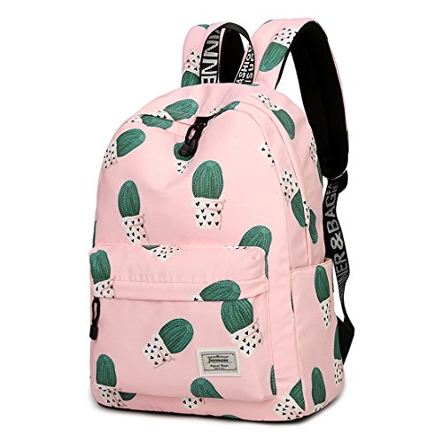 Joymoze Waterproof Leisure Student Backpack Cute Pattern School Book Bag for Girls Pink 841
