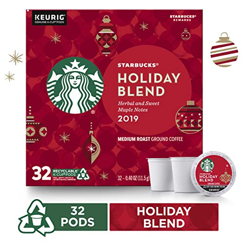 Starbucks Holiday Blend Medium Roast Coffee Single-Cup Coffee for Keurig Brewers, 1 Box of 32 (32 Total K-Cup Pods) | Herbal & Sweet Maple Notes (Christmas Holiday Cheap)