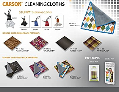 Carson Stuff-It Microfiber Lens Cloth Cleaner for Eyeglasses, Smartphones, Tablets, Cameras, Binoculars, Spotting Scopes, Lenses, Optics and More (SN-50) from Carson