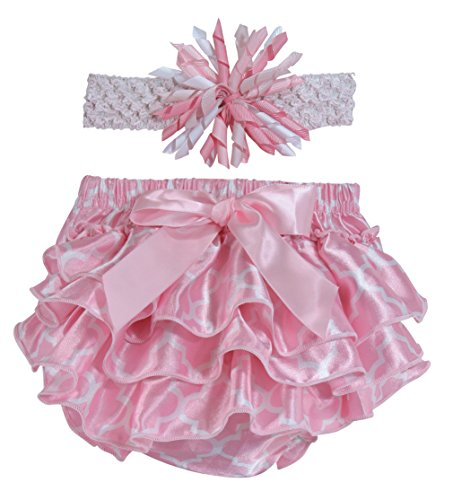 Stephan Baby Pink and White Satin Ruffled Diaper Cover and Curly Bow Headband, 6-12 Months (Silver Brush Comb Set)