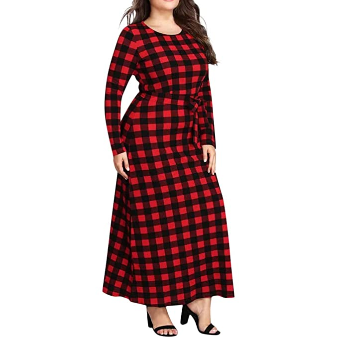 0521d5009 Sylar Moda Vestido para Mujer Casual Delgado Vestidos Largos Impresión A  Cuadros Cuello Redondo Manga Larga Elegantes Retro Vestido Largo Falda   Amazon.es  ...