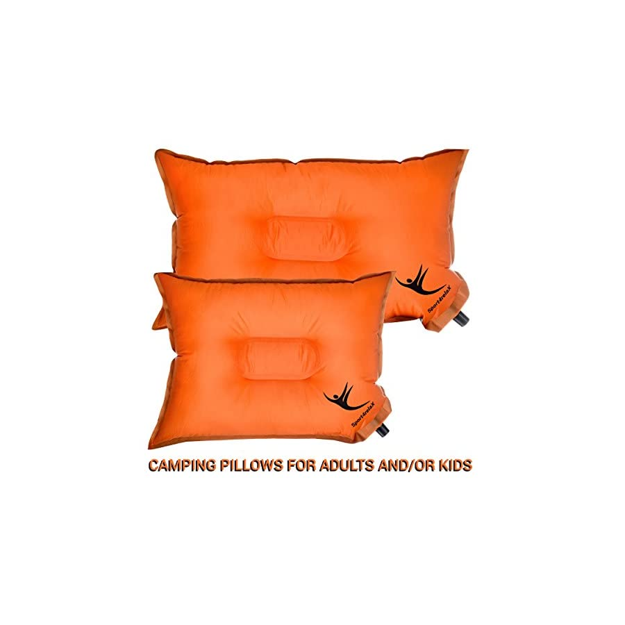 """SELF INFLATABLE CAMPING PILLOW for Travellers, Backpacking trips or Hiking Best Air Pillows 20""""x12"""" &/or Kids 16"""" x 12"""" Ultralight, Compact & Portable"""