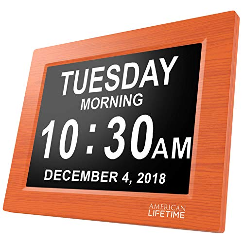 American Lifetime [Newest Version] Day Clock - Extra Large Impaired Vision Digital Clock with Battery Backup & 5 Alarm Options (Brown Wood ()