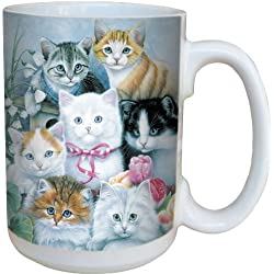 Tree-Free Greetings 79031 Cuddly Kittens Collectible Art Ceramic Mug with Full Sized Handle, 15-Ounce, Multicolored