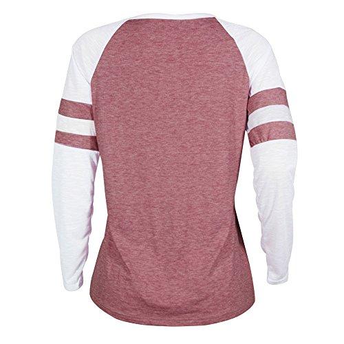 Patchwork Vtements Lonshell T pissage Chemisier Mesdames Rouge Femme Chemisier Tops Shirt rrEw0Aqx