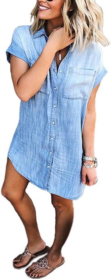 Uinolo Women's Loose Denim Blouse Mini Dress Button Down Lapel Short Sleeve T-Shirt Dress Tops with Pockets