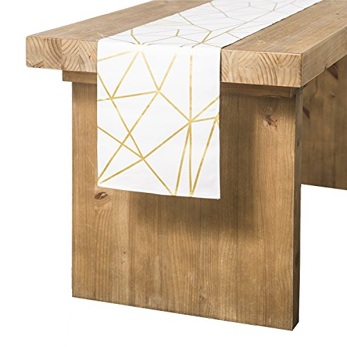 Ling's moment Gold Foil Geometric Pattern Table Runner 12 x 72 Inches for Morden Stylish Wedding Party Holiday Table Setting Decor, 100% Cotton (Runner Tabel)