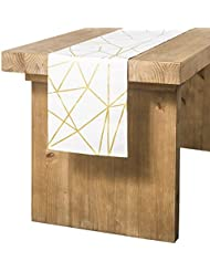 Ling's moment 12 x 72 inches Gold Foil Geometric Pattern Table Runner for Morden Stylish Wedding Party Holiday Table Setting Decor, 100% Cotton