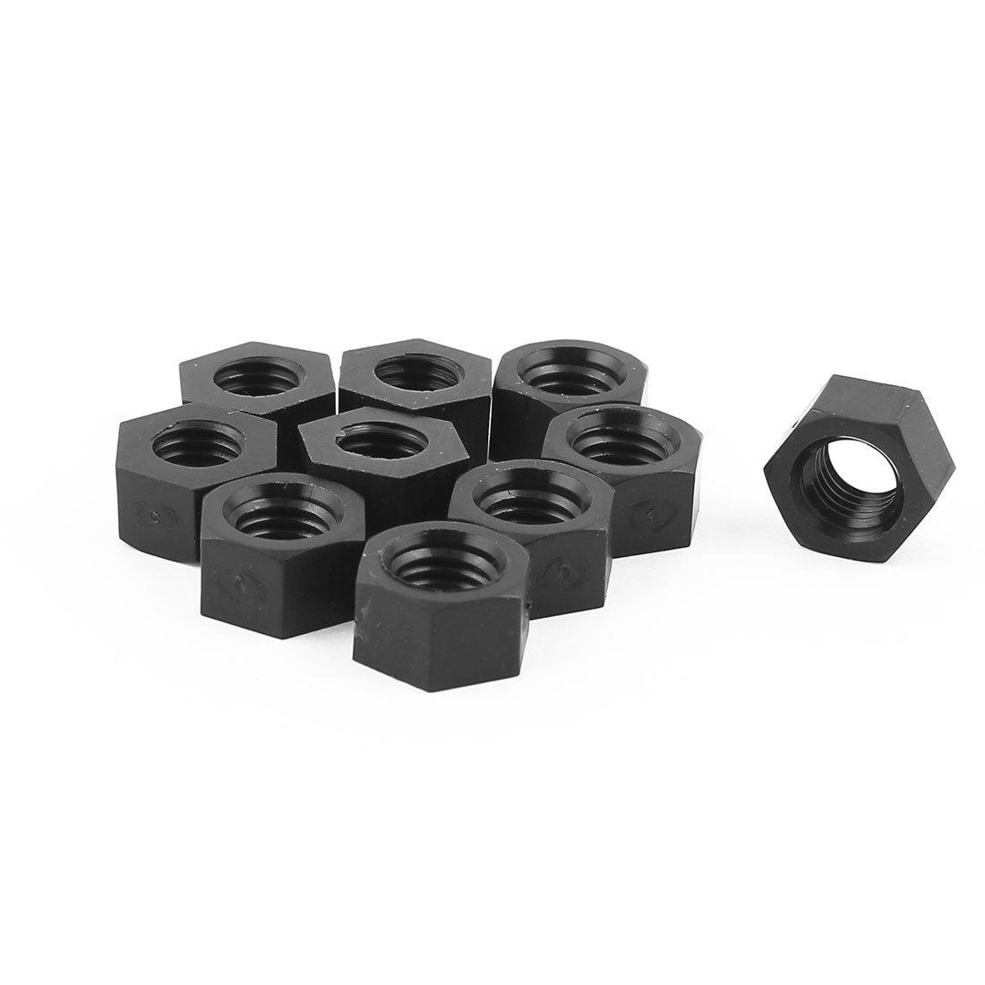 10pcs Pack Of Metric M10 Insert Lock Nylon Full Hex Nuts Plastic Black
