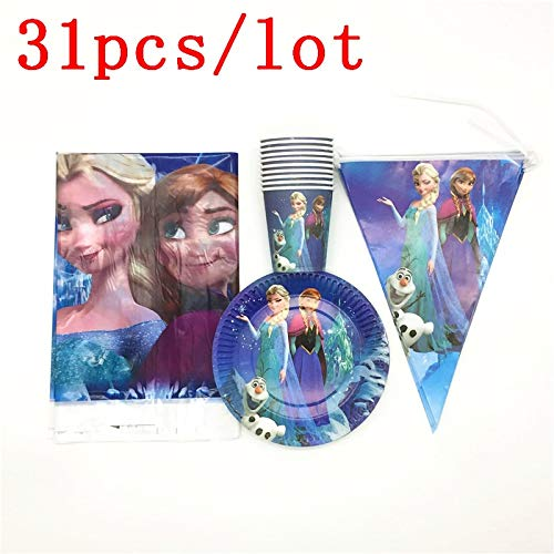 SeedWorld Disposable Party Tableware - 31Pcs Disney Frozen Queen Elsa Paper Cup Plate Flag Tablecloth Baby Shower Family Party Kid Birthday Banner Decoration Supply 1 -