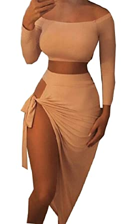 5cf641eb7 WSPLYSPJY Womens Long Sleeve Crop Top High Slit Skirt 2 Piece Outfit Set at Amazon  Women's Clothing store: