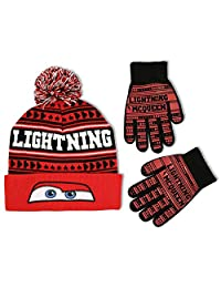 Disney Little Boys Cars Lightning McQueen Hat and Gloves Cold Weather Set, Age 4-7
