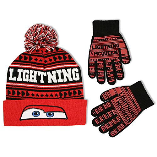 Boys Disney Lightning Mcqueen Cars (Disney Little Boys Cars Lightning McQueen Hat and Gloves Cold Weather Set, Age 4-7)