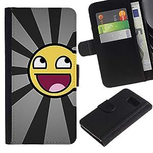 ZONECELL ( No Para S6 EDGE ) Imagen Frontal Negro Cuero Tarjeta Ranura Trasera Funda Carcasa Diseño Tapa Cover Skin Protectora Case Para Samsung Galaxy S6 SM-G920 - smiley impresionante divertido