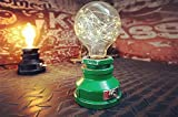 """Y-Nut Loft Style Lamp,""""Corporal Green"""" Steampunk Industrial Vintage Style, Water Pipe Table Desk Light with Dimmer, Aged Rustic Metal (Green) Review"""
