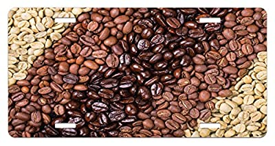 Ambesonne Kitchen License Plate, Selection of Fresh Roasted and Unroasted Coffee Beans in a Diagonal Stripe Pattern, High Gloss Aluminum Novelty Plate, 5.88 L X 11.88 W Inches, Brown Cream