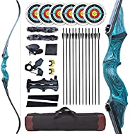 """Black Hunter Original Recurve Bows Bow and Arrow for Adults Archery Set Hunting Bow 60"""" 20-60 lbs Right H"""