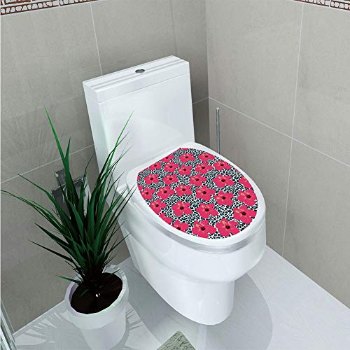 Toilet Cover Decoration,Hawaiian Decorations,Tropical Hibiscus Flowers and Leopard Pattern Tropics Botanical Jaguar African Animal,3D Printing,W11.8