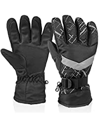 Winter Snow Ski Gloves, HUO ZAO Windproof Water Resistant Glove Breathable Protection Mittens Warm Gloves for Outdoor Cycling Snowboard Hiking Mountain Climbing