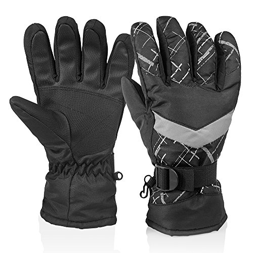 (HUO ZAO Men Winter Snow Ski Gloves for Outdoor Cycling Snowboarding Camping Black)