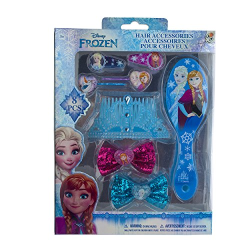 Frozen Outfits (Disney Frozen Hair Accessories Set with Hairclips, Bobby Pins, Haircomb, Mirror, Bows, 8 Pieces)