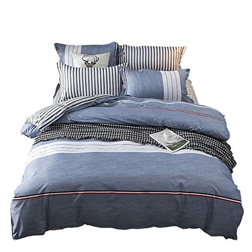 NOKOLULU Bedding Color Block Striped Print Duvet Cover Set with Hidden Zipper Closure Soft Breathable Durable(1 Duvet Cover + 2 Pillow Shams)(Queen Blue) (Duvet Covers Queen Nautical)