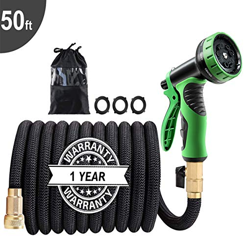 """50Ft Expandable Garden Hose, Extra Strength 3750D Fabric, Triple Latex Core, 3/4"""" Solid Brass Connectors, New 9-Way Durable Spray Nozzle, Flexible Expanding Water Hose Car Washing, Vegetable Garden"""