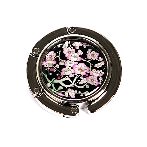 Nacre Inlay Mother of Pearl Cherry blossom Design Foldable Table Purse Caddy Portable Handbag Holder Hanger