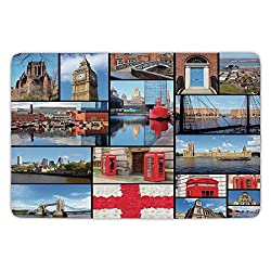 Bathroom Bath Rug Kitchen Floor Mat Carpet,England,England City Red Telephone Booth Clock Tower Bridge River British Flag with Flowers,Blue Red,Flannel Microfiber Non-slip Soft Absorbent