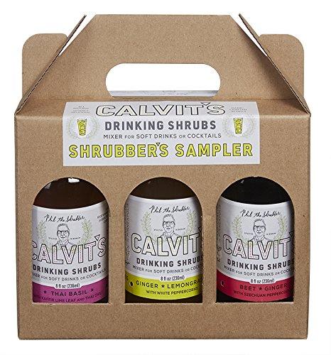"""Calvit's Shrubs - """"Shrubber's Sampler #1"""" Gift/Variety Pack - Ginger-Lemongrass • Thai Basil • Beet-Ginger — Handmade mixer for soft drinks & cocktails (3 x 8 oz.)"""