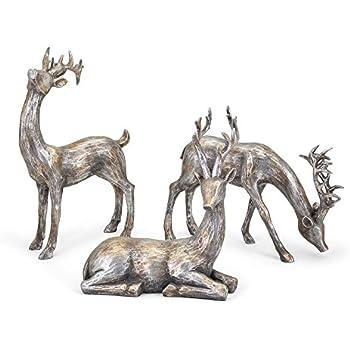 Gold and Silver Christmas Reindeer - Set of 3 - Benzara
