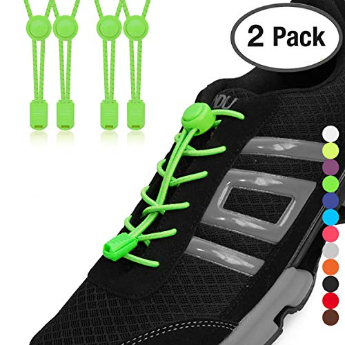 Stout Gears No Tie Shoelaces with Lock System | Elastic Shoe Laces for Sneakers (2 Packs, Green-Green)