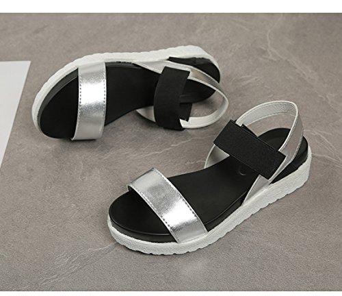 Sandalias 4cm Plata Verano 40 35 Cuero Mujer Plataforma Negro Plateado Zapatillas Deportivas Blanco Fcqqg4tP