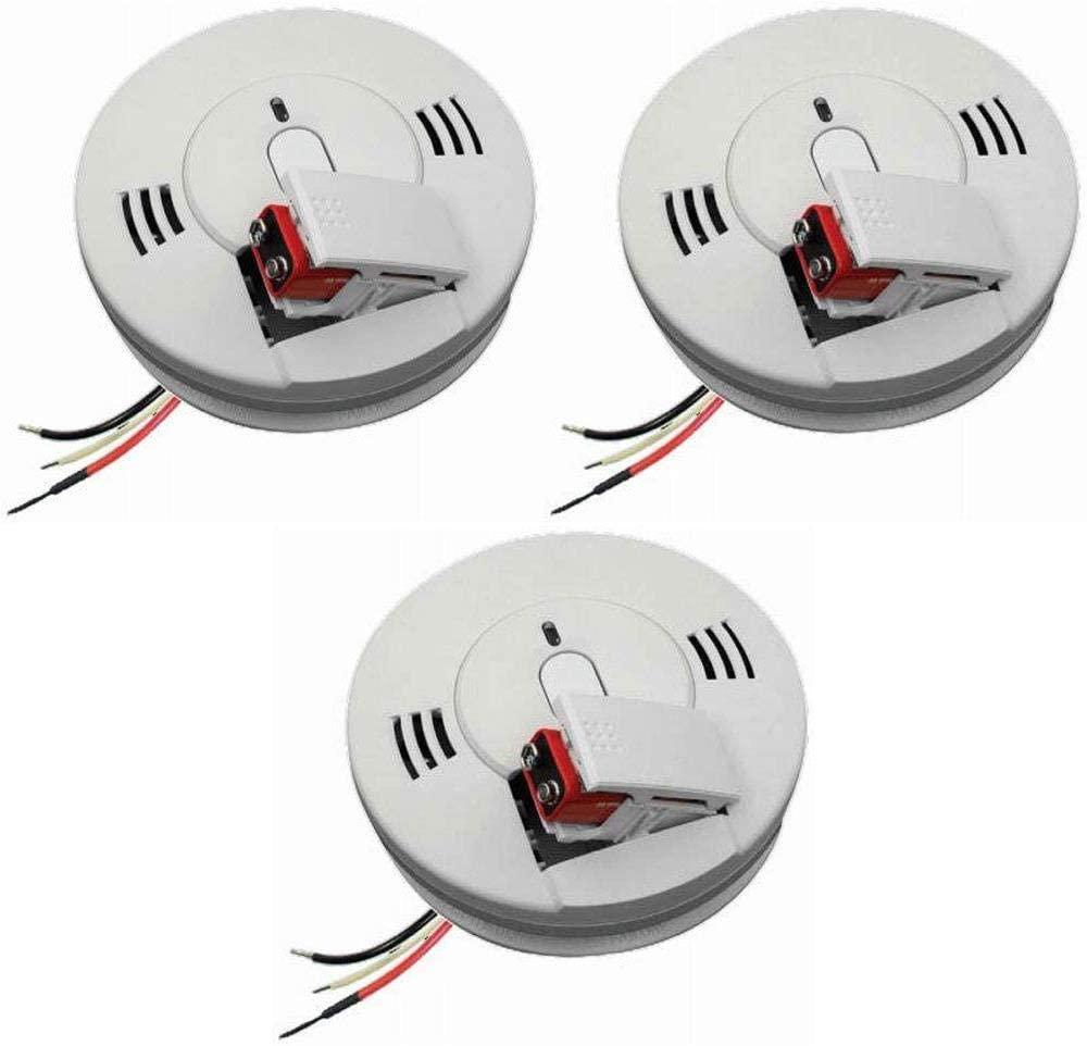 Kidde 21007624 Firex AC Photoelectric Smoke and Carbon Monoxide Detector Alarm Hardwired with Battery Backup Model # KN-COPE-IC Pack of 3