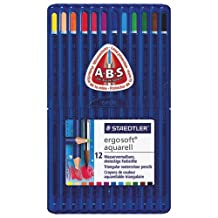 STAEDTLER Ergosoft 3mm Watercolour Coloured Pencil - 12 Pack - Assorted Colours