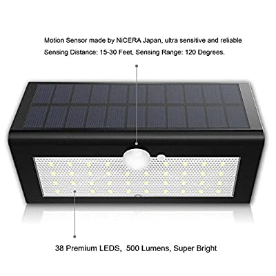 Solar Motion Sensor Wall Lights, Super Bright 38 LED, Genuine LG Rechargeable Batteries, Solar Powered Wireless Waterproof & Heatproof Motion Activated Solar Energy Security Lighting